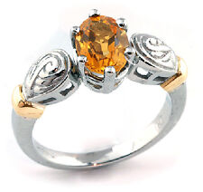 Woman's Ring 10k White-Yellow Gold Oval Citrine 1.25 ctw