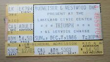 1986 TRIUMPH LAKELAND CONCERT TICKET STUB ALLIED FORCES JUST GAME THUNDER SEVEN