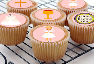 24 Holy Communion Girl pre-cut Cupcake Standing Toppers Rice Wafer Card Edible