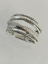 DAVID YURMAN The Crossover Collection Wide Ring with Diamonds Size 9