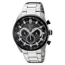 Pulsar PX5033-R Men's Chrono Solar Black Dial Steel Bracelet Watch