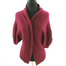 Theory 100% Cashmere Cardigan Short Sleeve Sweater Womens Small Red Plum