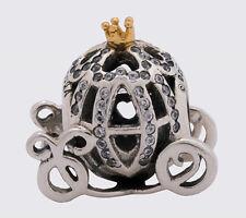 Pandora 925 14k silver beads charm Disney Cinderella Pumpkin Coach 791573CZ