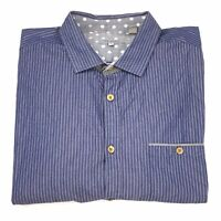 Ted Baker London Men's Blue Striped Long Sleeve Cotton Button Up Shirt Size 6
