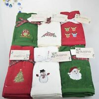 Hand Towel Christmas Gift Embroidered Snowman Santa Claus Kitchen Dish Towels