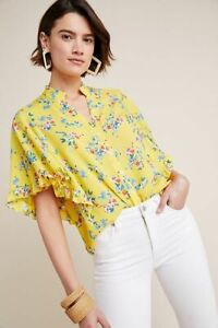 New Anthropologie Maeve Flutter-Sleeved Buttondown Top, Yellow, Small, RRP £70