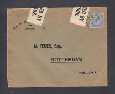 UK 1910s WWI CENSORED COVER LONDON TO ROTTERDAM HOLLAND NETHERLANDS