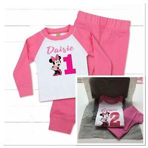 💕 Personalised Minnie Mouse baby girls pyjamas Birthday Pjs 1 2 3 4 pink