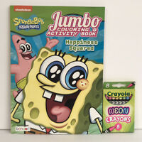 2 Sponge Bob Square Pants Gift Set Coloring  & Activity Book + Neon Crayons