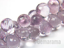 """Natural """"Rose de France"""" Pink Amethyst Gems Microfaceted Plump Drop Matched Pair"""