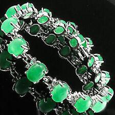 Emerald Green Jade Beads 18KWGP Crystal Link Clasp Women Party Bangle Bracelet