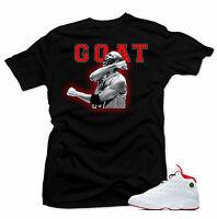 Shirt to match Air Jordan History of Flight Retro 13. GOAT Black   Tee