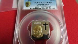 2005 John Paul NGC PR69 Malta Christian Vatican .999 Silver Gold Plating Swarovs