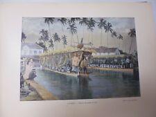 TAHITI: Gravure 19° in folio couleur /PIROGUE DES JOURS DE FETE