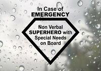 Autistic Non Verbal Child Superhero Autism Emergency Car Decal Vinyl Sticker