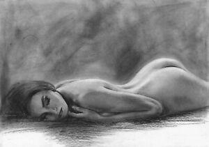 original drawing А3 37PY samovar Charcoal female nude Signed 2020