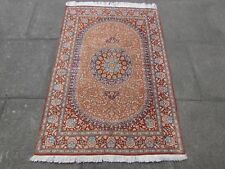 Old Fine Hand made Traditional Persian Rugs Oriental Silk Orange Rug 149x99cm