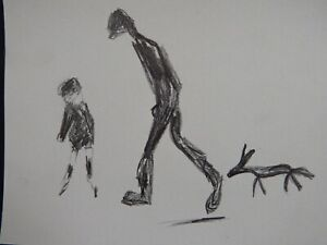 Pencil sketch drawing of a man walking a dog in the style of / after L.S Lowry