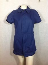 Aquascutum Urban Renewal Dress Button Down Baby Doll S/M Navy Blue VTG Fabric