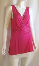 ALBERTO MAKALI Pink Silver Chain Accent V-Neck Empire Waist Tank Top Medium
