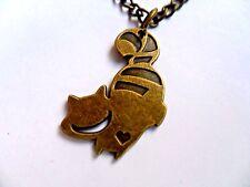 Unusual Alice in Wonderland Bronze Cheshire Cat  Necklace