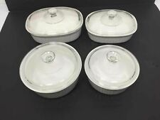 New listing Lot Of 4 Corningware French White Glass Lidded Baking Dishes