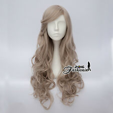 70CM Lolita Mixed Flaxen Long Women Curly Cosplay Wig Hair Bangs Heat Resistant