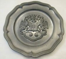 A Vintage Embossed Pewter Plate - Coat of Arms - Griffins - In Fide Constans