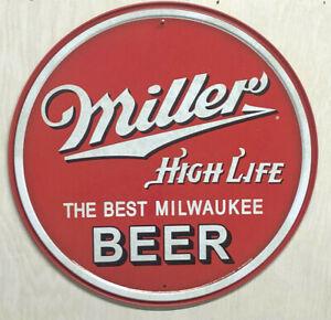 "Miller High Life ~ The Best Milwaukee Beer~ 12"" ROUND METAL WALL SIGN Bar Garage"