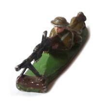 Figurine Machine Gunner Lead Soldier WW1 QUIRALU Mitrailleur anglais couché