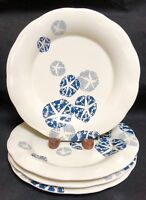 Coldwater Creek Blue SAND DOLLAR  Salad Plates 4 EXCELLENT NEW CONDITION!!!!!