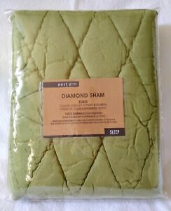 """West Elm Diamond Sham 26""""x26"""" Euro Square Sage Green Quilted BUY 1 OR BOTH"""