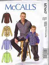 Mens Button Up Front Shirts Jersey Jacket Hood Sewing Pattern S M L XL 34-48