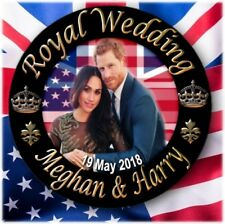 PRINCE HARRY~MEGHAN MARKLE BUTTON BADGE~ HISTORIC ROYAL WEDDING SOUVENIR