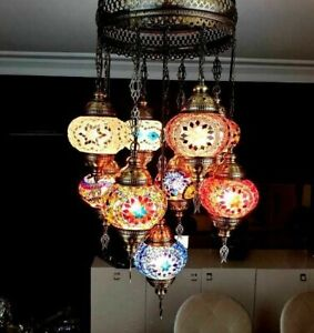Handmade Lamp 9 BALLS Craft Chandelier Turkish Moroccan Mosaic Ceiling Decor Big