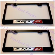 2X Dodge Jeep SRT 8 Black Stainless Steel License Plate Frame Rust Free W/ cap