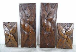 French Antique Carved Wood Trim Set of 4 Applique Furniture Decorative Wood Part