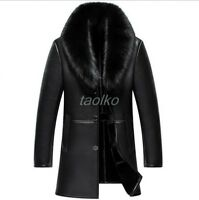 mens winter parka real Fox Fur Collar leather Jacket Mid Long coat warm outwears
