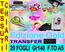20 PEZZI A5 21 X 14,8 140 GR EDIZ GOLD TRANSFER X COTONE CHIARO STAMPA MAGLIETTE