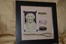 """YELLOW LABRADOR collars leash SIGNED limited edition PRINT 10.5"""" 660/1900"""