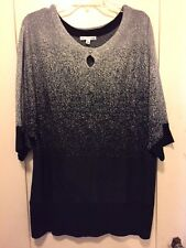 Lovely Notations Black/Silver Lurex Glitzy Pullover Sweater Top NWT 1X