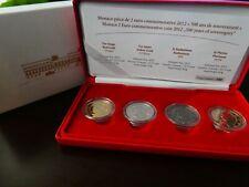 Monaco, 2012, 4 x 2 Euro, Lucien , Edelmetall Set Gold/Ruthenium/Platin, Etui.