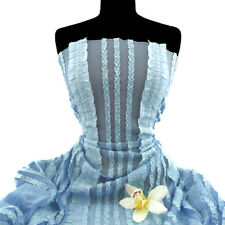 Baby Blue Stretch Mesh Fabric with Ruffles