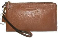COACH Saddle Leather Double Zip Clutch Wristlet NWT