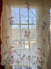 Pottery Barn Teen $99 Ivory Floral Embroidery Sheer Curtain Set New