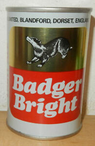BADGER BRIGHT Straight Steel Beer can from ENGLAND (27,5cl) Empty !