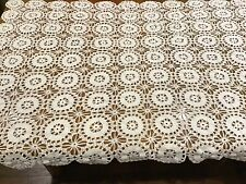 """Vintage Hand Crocheted Lace Tablecloth 44"""" x 66"""" White  Vintage Beautiful"""