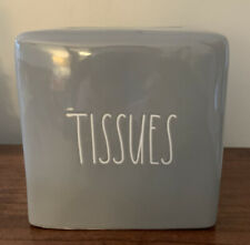 "Rae Dunn ""TISSUES"" Grey Ceramic Tissue Box Cover NEW"