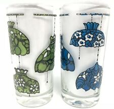 Lot Of 2 Stained Glass Lamp Drinking Cups Glasses Rare HTF Unique Kitchen Retro