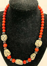 "Ethnic Red Wood Bead Natural Stone Boho 18"" Spotted Black White Necklace"